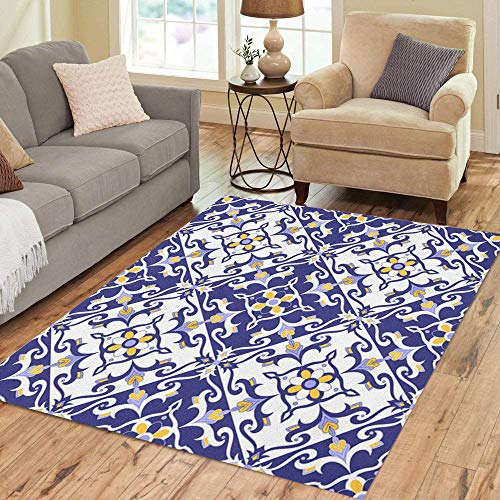(Pinbeam Area Rug Portuguese Pattern Blue Yellow and White Ornaments Azulejos Home Decor Floor Rug 5' x 7' Carpet)