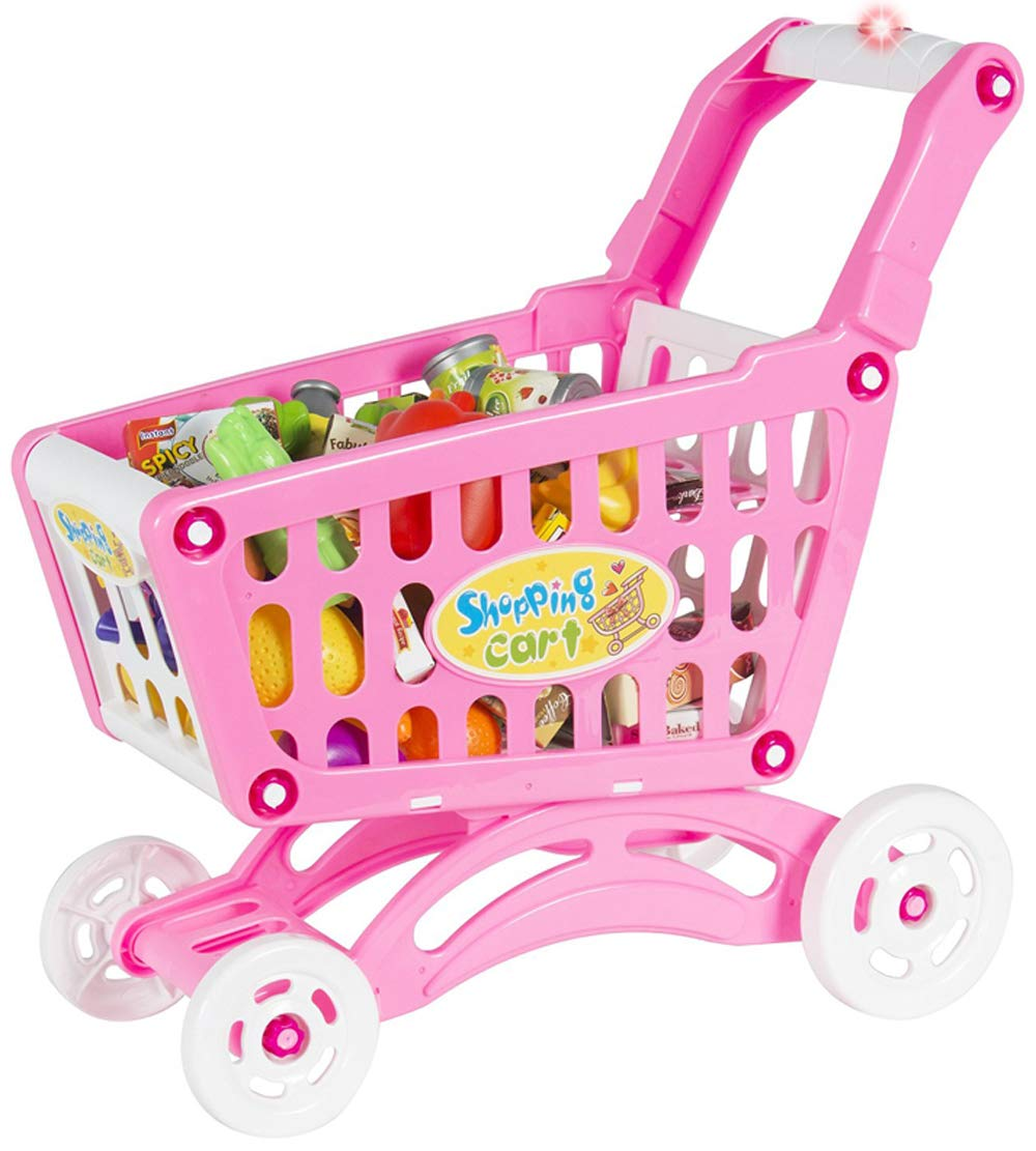 PowerTRC Mini Shopping Cart with Full Grocery Food Playset Toy for Kids - Pink