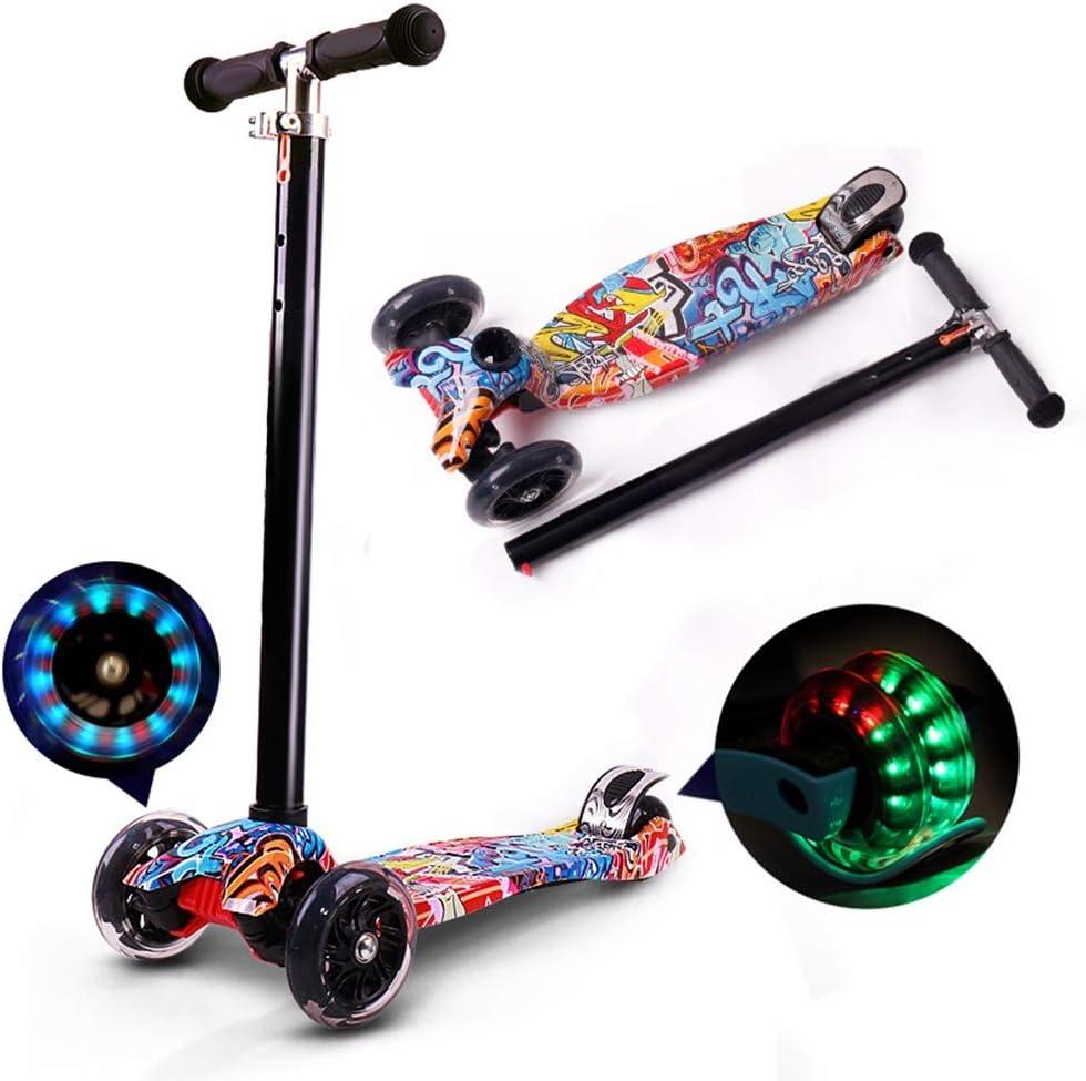 Wink zone 3-12歳の子供のための三輪スクーター、高さ調整可能、フラッシュ付き、落書きデザイン 購入へようこそ ( Color : 黒 )