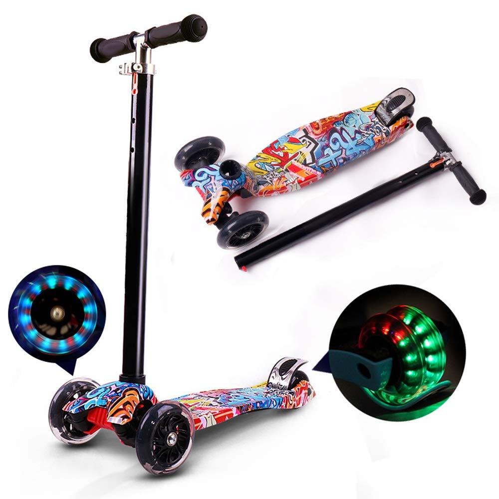 Runplayer ) Black 3-12歳の子供のための三輪スクーター、高さ調整可能、フラッシュ付き、落書きデザイン ( : Color : Black ) B07R13F9XL, クナシリグン:53ced3ca --- durrari.com.br