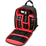 Camera Bag Backpack Waterproof Rucksack Nylon Shoulder Bag 33*12.5*26.5 Multi Function Anti-shock for DSLR Canon Nikon Sony EOS Olympus Samsung Pentax SLR Accessories Fujifilm Travelling Photography Black Red DC3