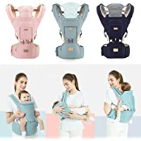 Ergonomic Baby Carrier with Hip Seat Waist Stool Adjustable Wrap Sling Backpack (Blue)