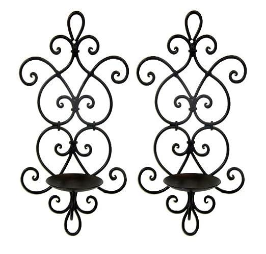 f97164b401 Decorative Black Wrought Iron Candle Wall Sconce Set: Amazon.co.uk: Lighting