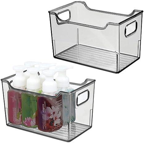 Amazon Com Mdesign Plastic Bathroom Vanity Storage Bin With Handles Organizer For Hand Soap Body Wash Shampoo Lotion Conditioner Hand Towel Hair Brush Mouthwash 10 Long 2 Pack Smoke Gray