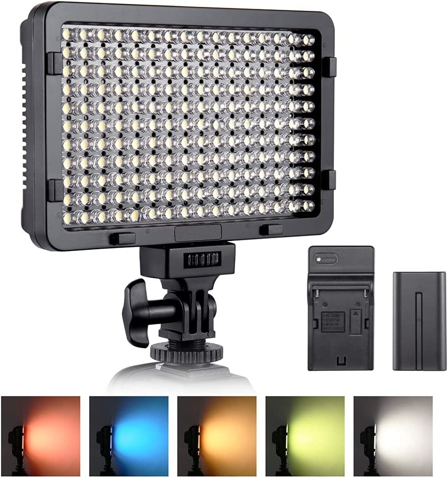 Dimmable Bi-Color 3200K-5600K CRI95+ Camera Lighting for Video Shooting and Photography NP-F550 Battery Included Portable Ultra-Thin LED Video Light Switti Camera Light