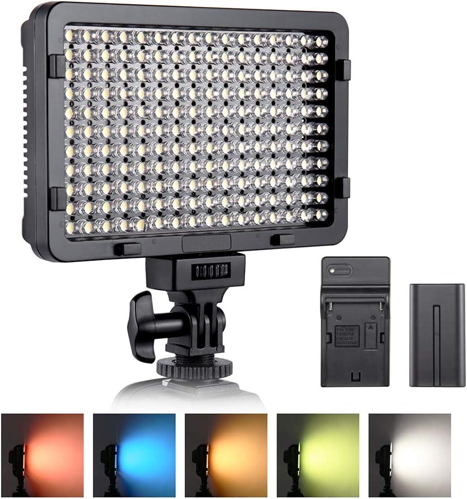 Luz de video LED, ESDDI 176 LED Ultra Brillante Regulable CRI 95+ Luz de Cámara con Juego de Baterías NP-F550 y 5 Filtros de Color para Iluminación Colorida, Fotografía de Retratos, Video y Youtube