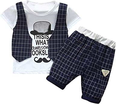 Fineser Toddler Kids Baby Boys Summer Cotton T-Shirt Tops+Shorts Pants Outfits Clothing Set