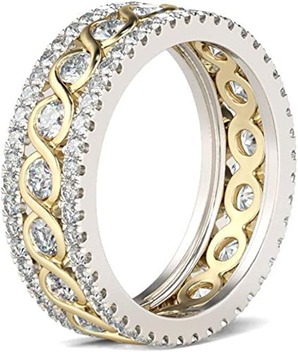 YELLOW GOLD GP LADIES GIRLS CRYSTAL DIAMONTE ETERNITY STACKABLE RING SIZE 7 N