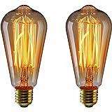エジソン電球60W KINGSO 2個入 E26 110V ST64-19アンカー ヴィンテージガラスライト ホーム照明装飾用器具