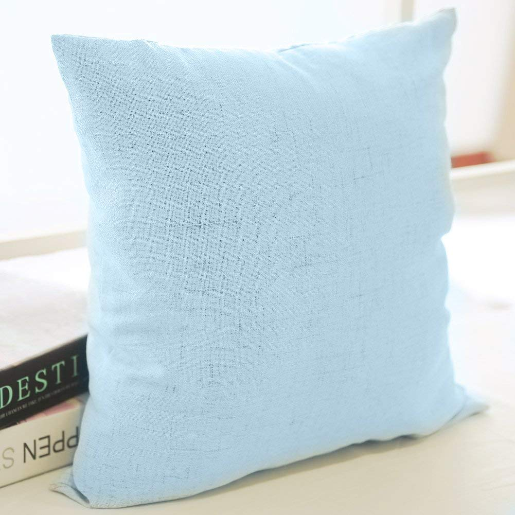 Albad Linen Pillow Covers 20 X 20 Inch Sets Of 4 Blue Decorative Square Throw Pillow Cover Cushion Case Sofa Durable Modern Stylish Linen Blue Throw Cushion Covers Hidden Zipper Case Bb420