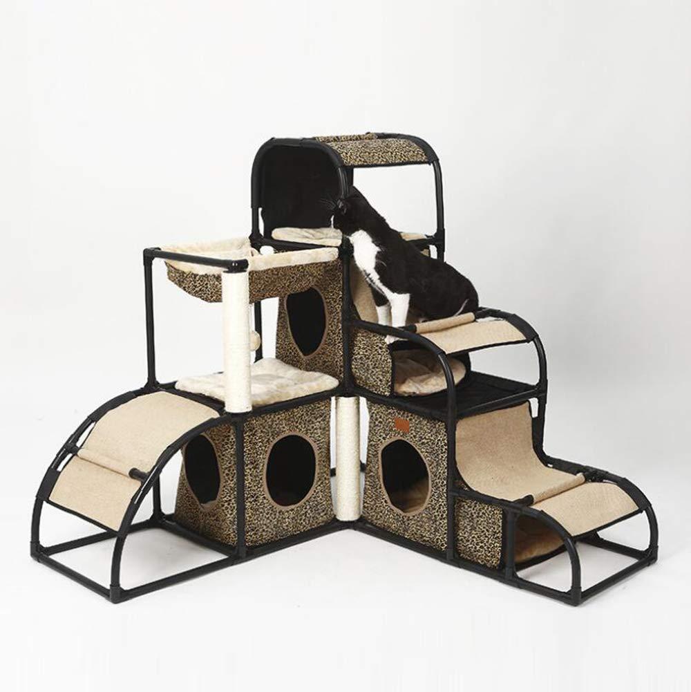 C JIANGJIE Cat Tree Cat Jumping Platform Detachable Combination Climbing Grinding Claw Hammock Hanging Ball Hiding Hole Multi-Function,C