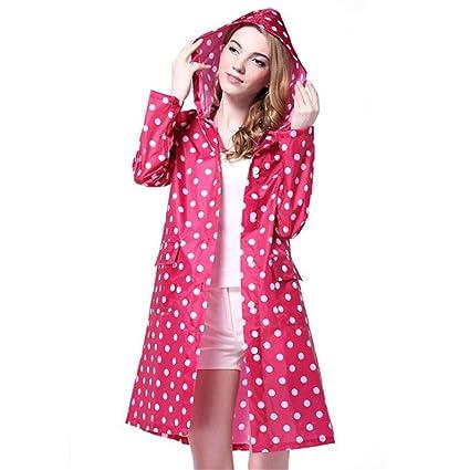 6612fe8e3028e Amazon.com  Persmileful Women s Waterproof Polyester Pink Raincoat Hooded  Casual Fashion Rainwear Rain Jacket with Polka Dot Pattern  Sports    Outdoors