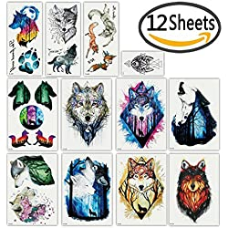 DaLin Temporary Tattoos for Women Men (Wolf Collection)