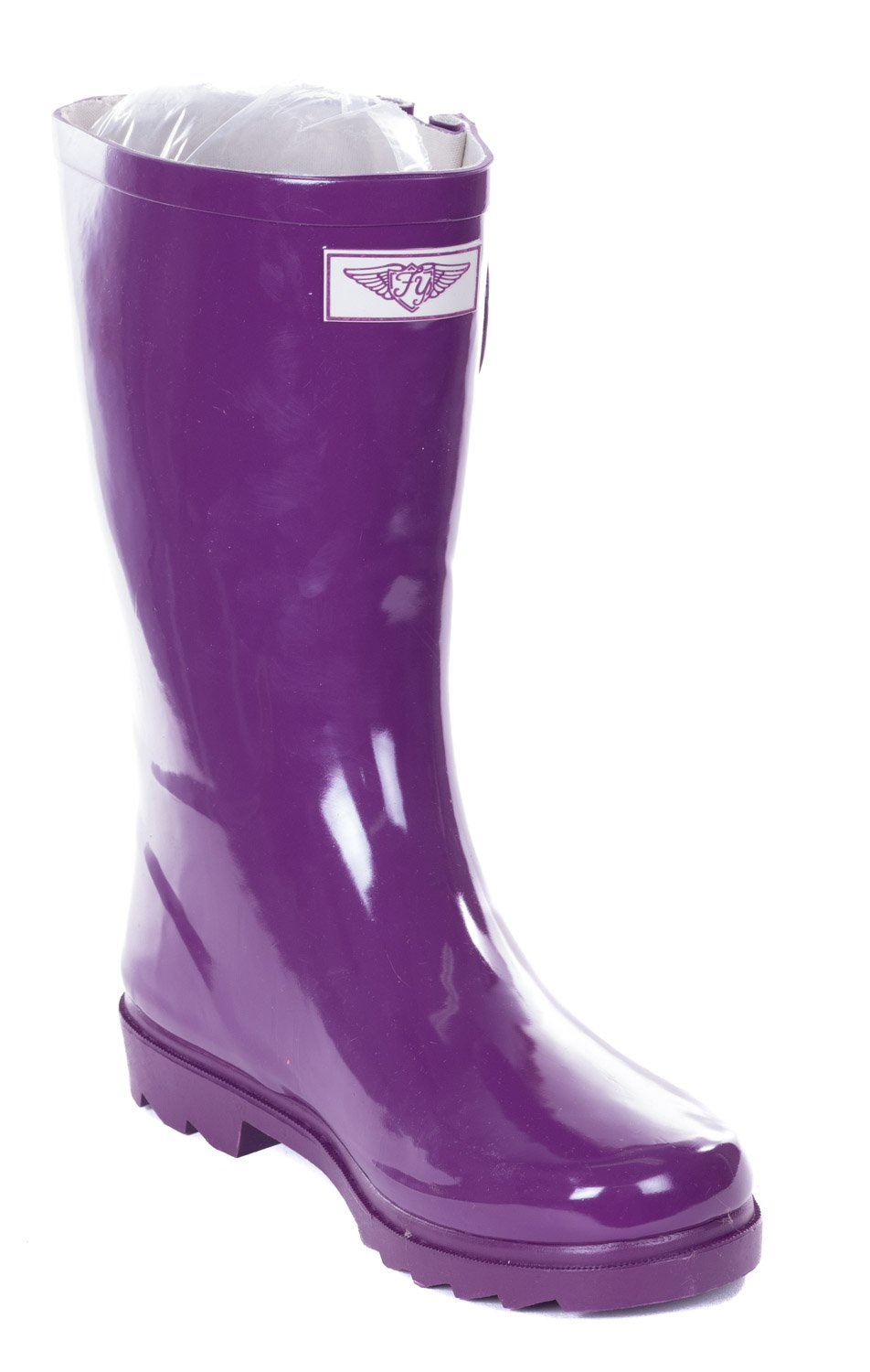 Forever Young Women Mid-Calf Purple Rubber Rain Boot, 9