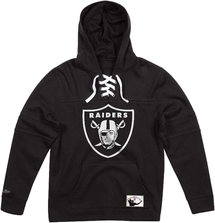 Mitchell & Ness Oakland Raiders メンズ ブラック ホッケー レース フード付きフリース  XX-Large
