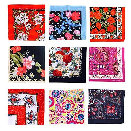- COCOUSM Ladies Retro Style Vintage Floral Print Cotton Handkerchiefs Pack