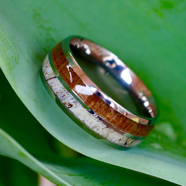 natural deer antler ring with koa wood inlay mens band womens wedding ring titanium hunter ring band amazoncom - Antler Wedding Rings
