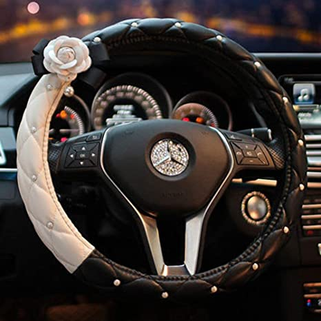 eing Fashion Cute Car Steering Wheel Cover with Diamond Pearl Flower,Idea for Girls Women Ladies,Universal Size /& Fit for Four Season Black+White/&White Flower