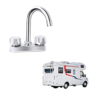 "RV Bar Faucet Two Handle-4""main body-High Arch-Chrome Finish-360 Swivel Replace forRecreational Vehicles, Campers, Travel Trailers, Motorhomes and 5th Wheels: Home Improvement"