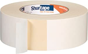 Shurtape DS 154 Double-Sided Containment Tape, Painter's Tape and Sticks to Plastic Sheets, For Painting and Remodeling, 48mm x 23 Meters, Natural, 1 Roll (104333)