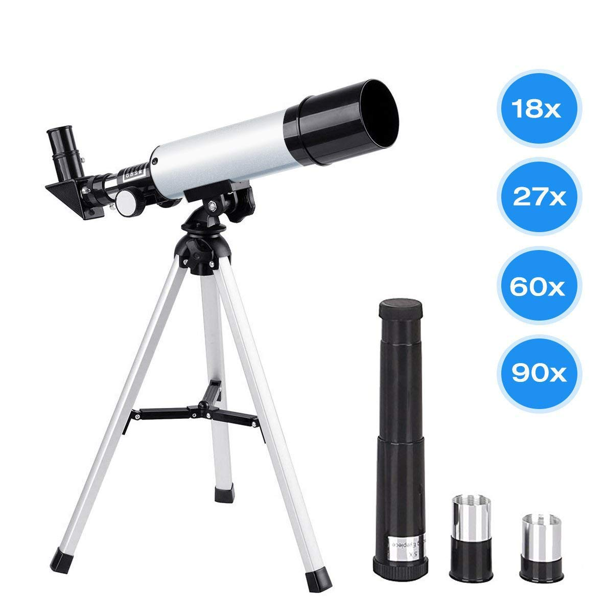 Manfore Kids Telescopes, 90X Science Astronomical Telescope Tripod 2 Magnification Eyepieces, Kids Science Telescope Educational Learning Toy Sky Star Gazing & Birds Watching