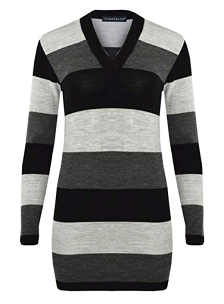 792a6094e8 CELEB LOOK N38 New Womens Celebmodelook Ladies Full Length Striped V-Neck Knitted  Jumper Dress  Amazon.co.uk  Clothing