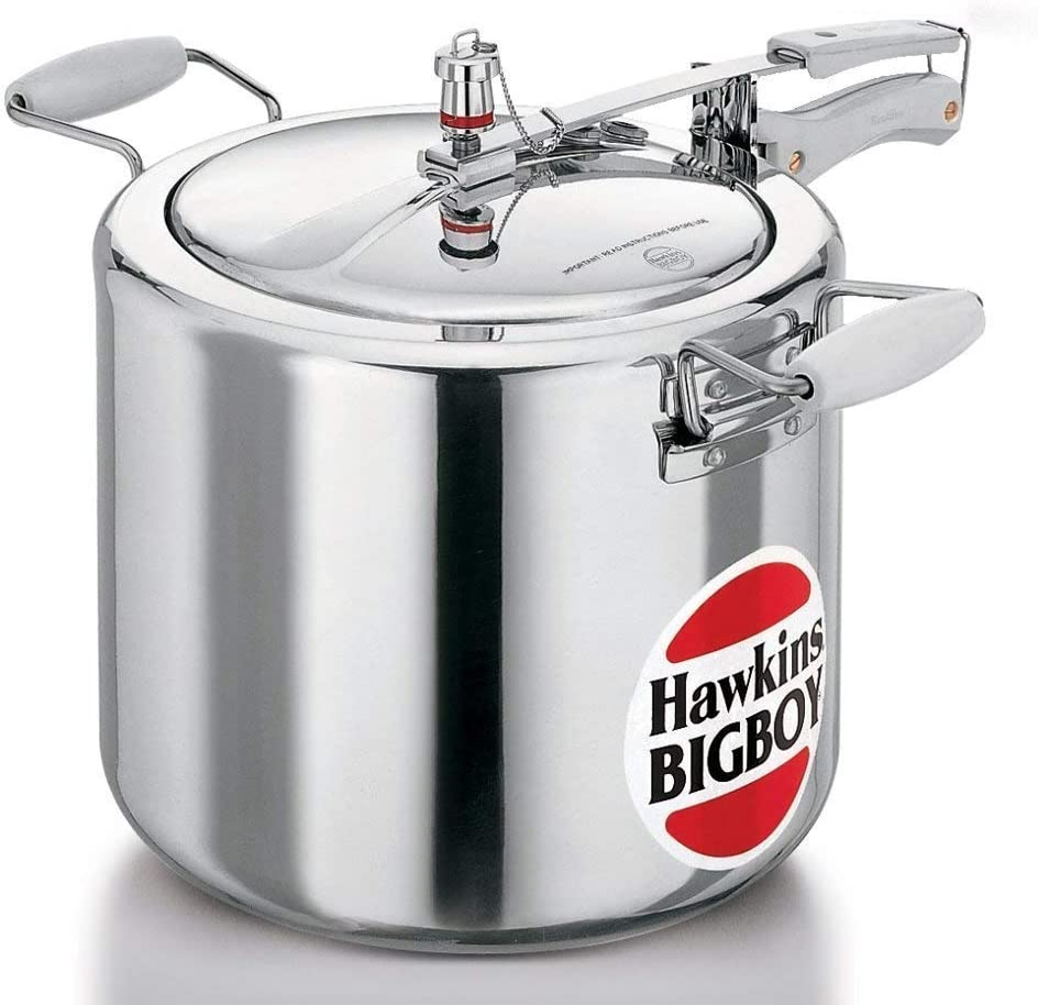 Hawkins Bigboy E-21 Aluminum 22 Litre Commercial Size Pressure Cooker with Separators and Grid to Cook Different Foods At the Same Time