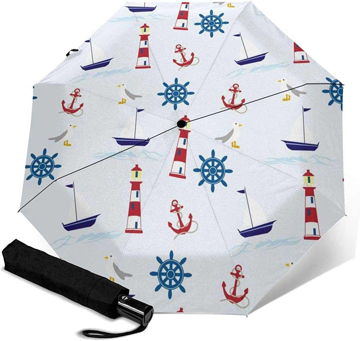 Ship Wheel Lighthouse Sail Boat Anchor Compact Travel Umbrella Windproof Reinforced Canopy 8 Ribs Umbrella Auto Open And Close Button Personalized