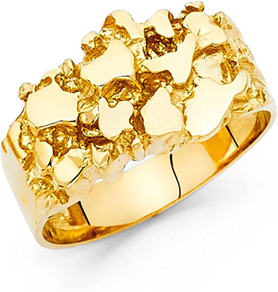 Solid 14k Yellow Gold Nugget Ring Mens Band Chunky Diamond Cut