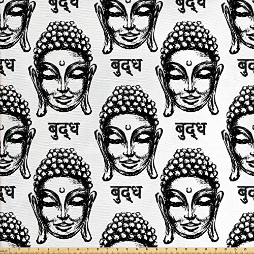 Asian Fabric by the Yard by Lunarable, Hand Drawn Inscriptions from the Language of Nepal South East Asian Motifs Religion, Decorative Fabric for Upholstery and Home Accents, Black (Asian Sham)