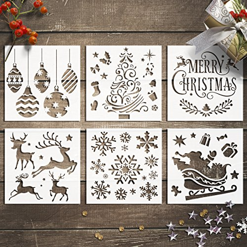 GSS Designs Christmas Stencils Template Pack of 6 -Merry Christmas,Santa Claus,Christmas Tree,Snowflakes,Bulbs,Reindeers for Christmas Decoration 6X6 - Snowflakes Christmas Drawing