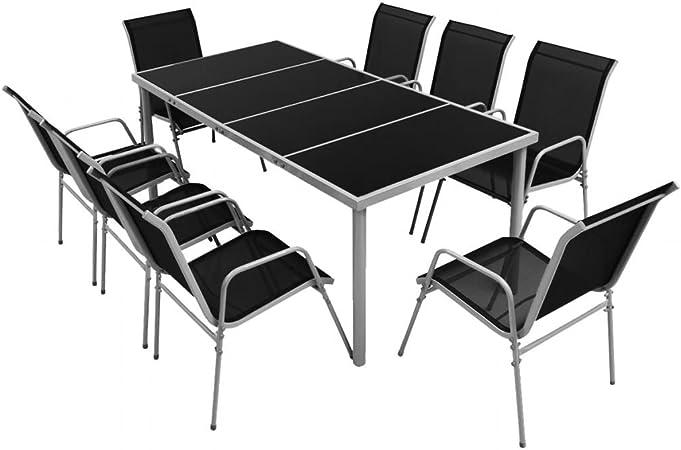 Vislone Muebles de Comedor Set Jardín Terraza Conjuntos de Muebles de Jardín 9 Piezas 1 Mesa y 8 Sillas Apilables Superficie de Vidrio Templado: Amazon.es: Hogar
