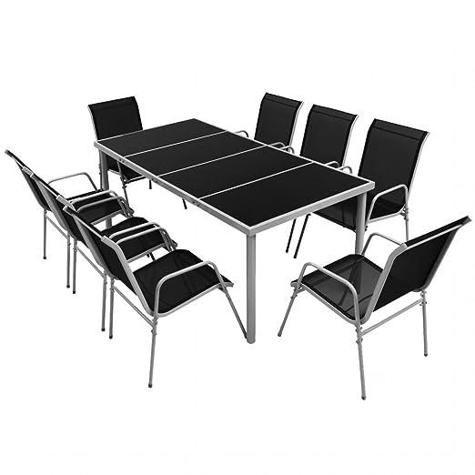 Luckyfu Este 9 Piezas Set Muebles de Comedor para Exteriores Negro ...