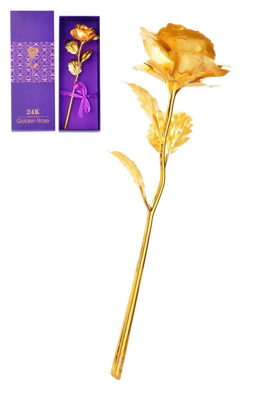 ACE Select 24 Kゴールド箔ローズとギフトボックス、誕生日、母の日、バレンタインの日の存在、ホーム装飾記念 ゴールド 1693562358HDNUFBACC B06XRQ1D6V  ゴールド