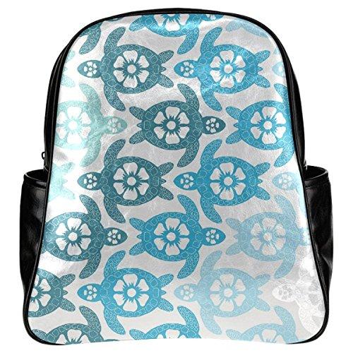 InterestPrint Sea Turtle PU Leather Multi-pocket Kid's School Backpack