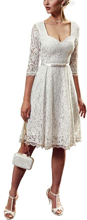 Robe Dentelle Femme De Soiree Ceremonie Manches 3 4 Robe Mi Longue Femme Pour Mariage Invite Col V Elegante Amazon Fr Vetements Et Accessoires