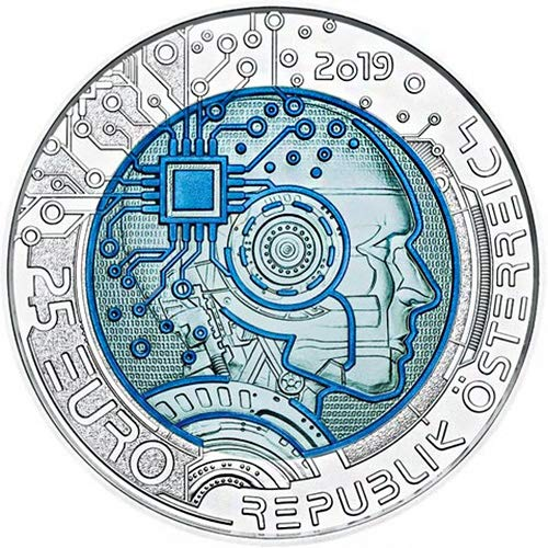2019 AT Niobium PowerCoin ARTIFICIAL INTELLIGENCE Bimetallic Silver Coin 25€ Euro Austria 2019 BU Brilliant Uncirculated