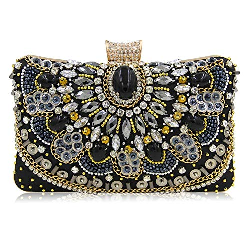 Cherry-Lee Womens Rhinestones Clutch Bags Bag, Ladies Handbag Quilted Crossbody Bag with Chain Sparkling Glitter Party Handbag Wedding Bag