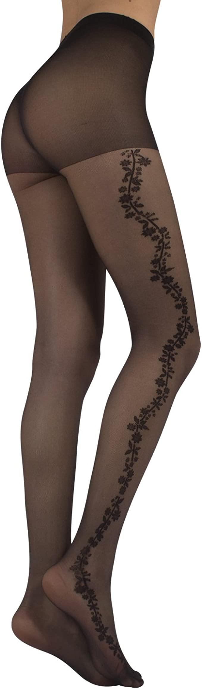 flower ornament gold pattern Floral pattern tights plus size pantyhose