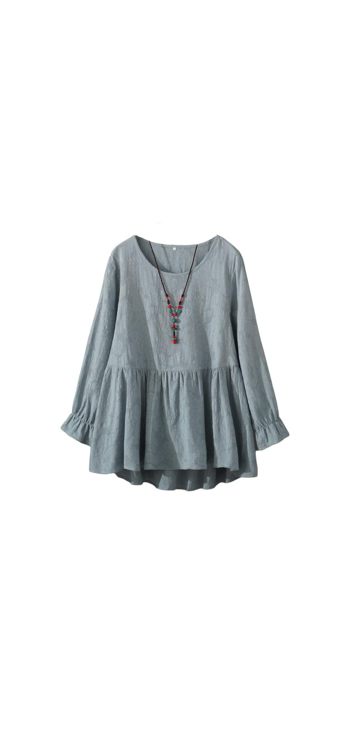 Women's Cotton Tunic Tops Long Sleeve Swing Pleated