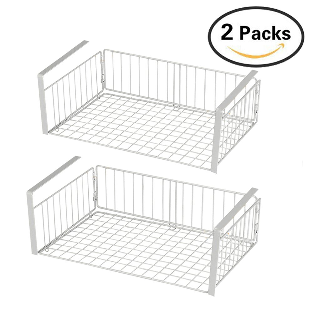 KuanGuang Housewares 2 Pcs Under Shelf Storage Baskets Kitchen Wire Mesh Cabinet Organiser 42 cm x26 cm x12 cm (White)