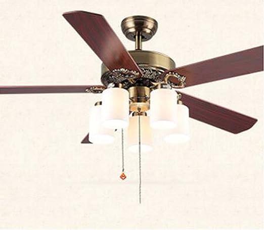 IV-ydzxx Ventilador de Techo Retro de 52 Pulgadas con luz y ...