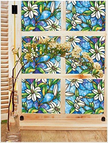 ブロスClingビニールプライバシーウィンドウフィルム3d花ガラスウィンドウフィルム45 cm X 200 cm ( 17.7