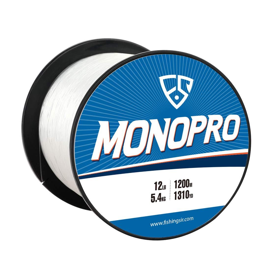 FISHINGSIR MonoPro Monofilament Fishing Line – Premium Mono Nylon Lines – Superior Strong and 30 Higher Abrasion Resistance, 175-3280Yds, 4LB-130LB