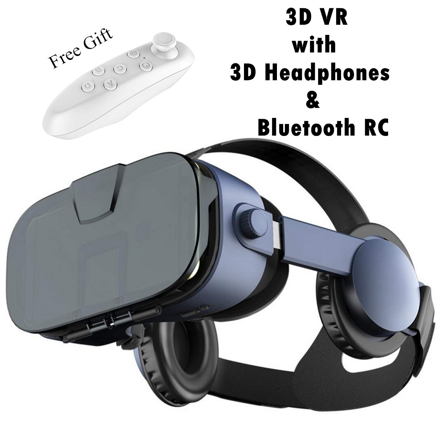 "Virtual Reality Headset, 2018 VR Glasses w/ 3D Headphones &Remote(Gift), 3D IMAX Movie/Game Viewer Compatible for iPhone Xs XR X 8 7 6 S Plus Samsung Galaxy S9 S8 S7 S6 Edge + etc 4.0-6.33"" Cellphone"