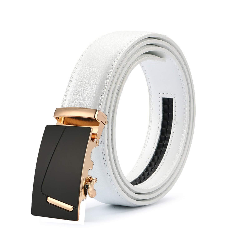 New Mens Fashion Automatic Buckle Leather Luxury Man cinturones hombre Black white Belt Alloy buckle White belt for Men,26,115cm