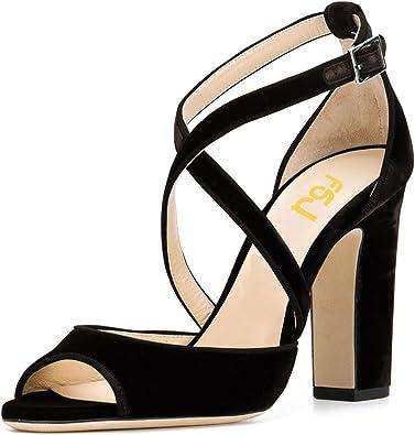 Peep Toe Sandals Chunky High Heel Pumps
