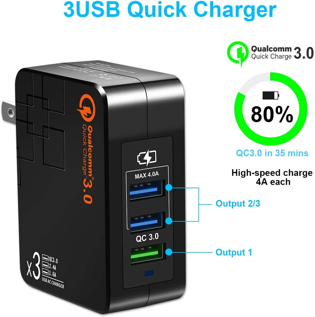 iPad Pro-Black Fast Charge 3.0 USB Wall Charger with Dual 5V//2.4A USB Ports Total 4A 3A Max. Portable 38W QC3.0 USB Charger Power Adapter with Foldable Plug for iPhone XS//Max//XR//X//8//7//6s//Plus