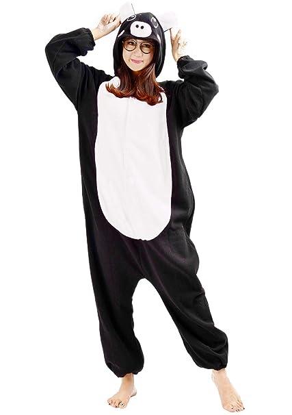 973e309206 Kigurumi Pijama Animal Entero Unisex para Adultos con Capucha Cosplay  Pyjamas Cerdo Ropa de Dormir Traje de Disfraz para Festival de Carnaval  Halloween ...
