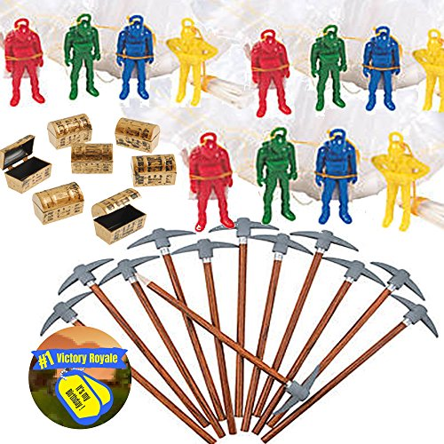 Battle Mode Gamer Party Favors for 12 - Pickaxe Pencils (12), MINI Treasure Chest (12), Paratrooper Toys with Parachutes (12) and Game Winner Party Sticker (Total 37 -